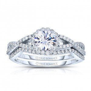 Rm1346 -14k White Gold Round Cut Halo Diamond Infinity Engagement Ring